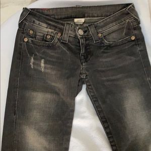 True Religion black jeans pants straight size 27